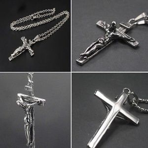 Other - Silver Crucifix Cross Necklace with Chain